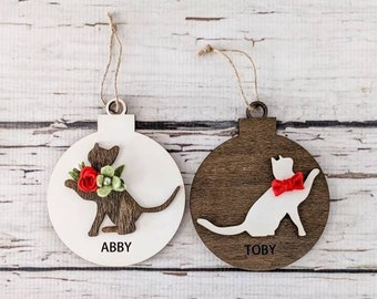 Wood cat ornament with felt flowers or bowtie