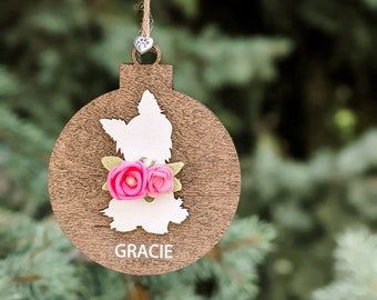 Custom dog ornament with felt flowers or bow tie