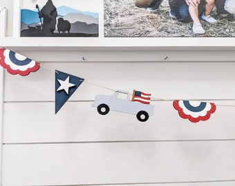 Wooden 4th of July American banner
