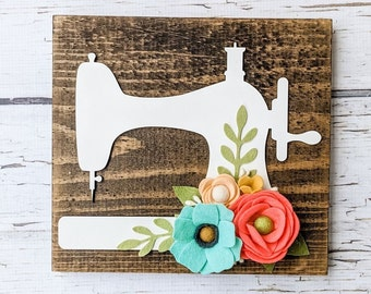 CUSTOM- sewing machine with felt flowers