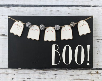 Boo Halloween sign with cute ghost banner