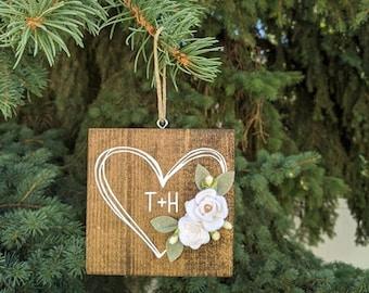 Heart ornament with felt flowers