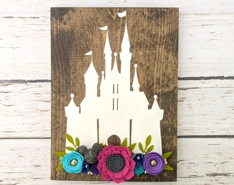 Castle sign with felt flowers