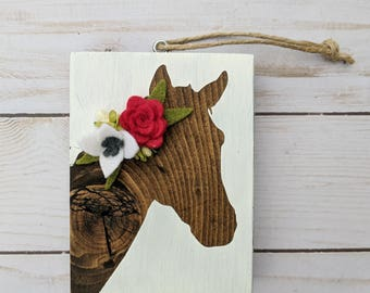 Wood horse ornament with felt flowers