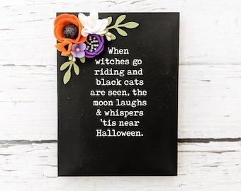 Halloween sign with felt flowers