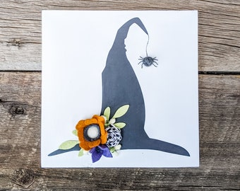 Witch hat sign with felt flowers and felt spider