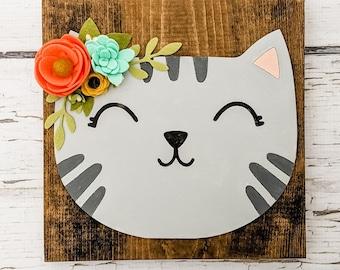 Custom cat sign with felt flowers