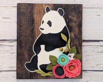 Panda sign with felt flowers panda decor