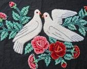 Vintage Embroidery Birds Plushwork Folk Art Roses Pillow Top Doves Darling