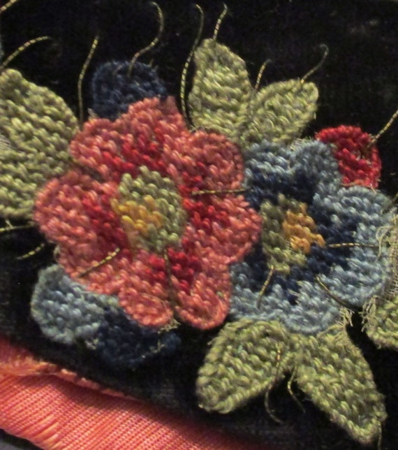 Antique Collar Edwardian Velvet Embroidered Appli… - image 5