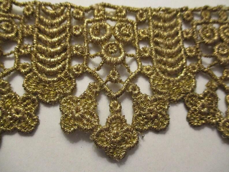 Antique Metallic Lace Cotton Trim Gold Art Nouveau 16 Stunning