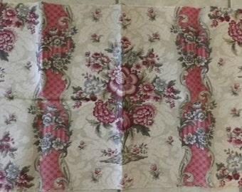 Tessuto lino francese antico splendido floreale Mouchette