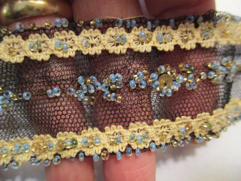 Antique Trim Tulle Beaded Sequins Net Lace