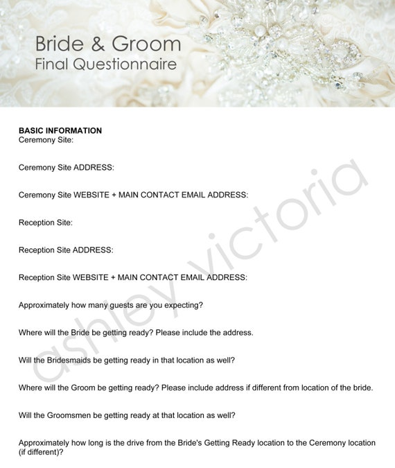 Bride groom wedding questionnaires for photographers set of junglespirit Image collections