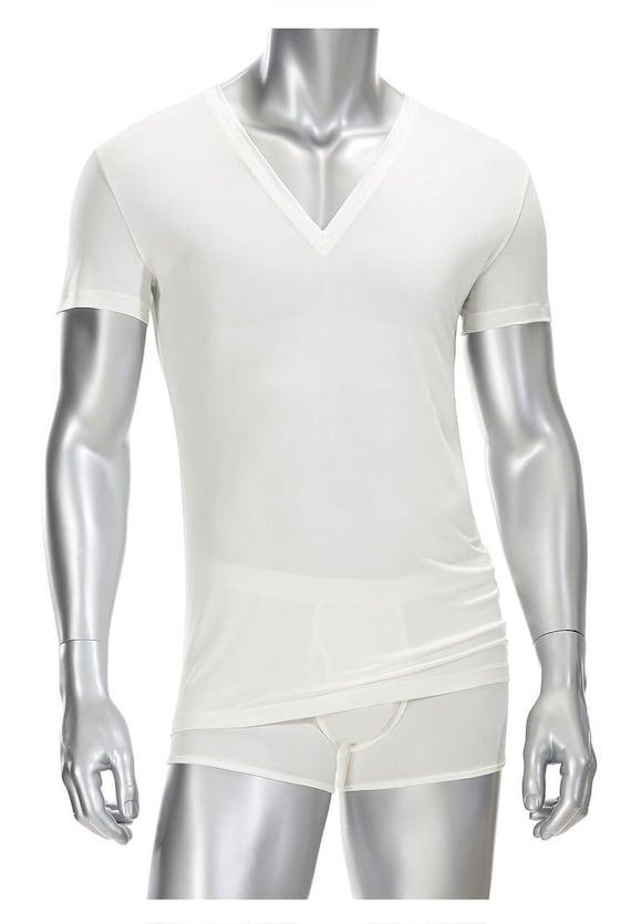 Mens Deep V neck T Shirt 100% Silk White