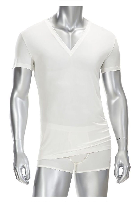 Mens Deep V-neck T Shirt 100/% Silk White