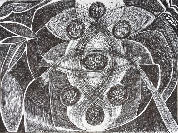 Expanding Merkaba, pen and ink drawing, new energy art