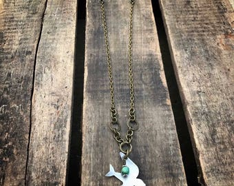 Soar Mixed Metal Bird With Turquoise Dangle Necklace