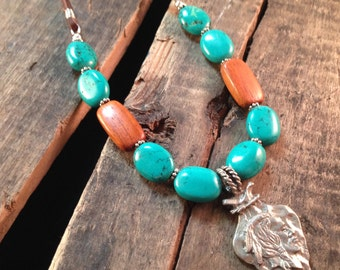 Indian Arrowhead Turquoise and Leather Necklace