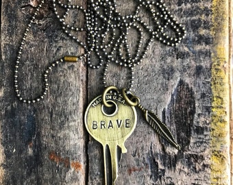Vintage Hand Stamped Brave Key with Brass Feather Charm- Ball Chain- Gift for her- Yale Key