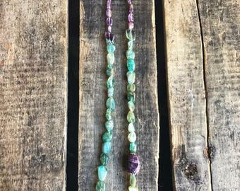 Amethyst and Apatite Gemstone Beaded Necklace- Gift for her- Gift
