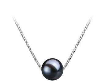 Floating Blackish Blue Freshwater Pearl Necklace