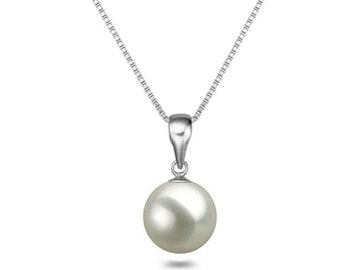 Pearl pendant etsy japanese aaaa white freshwater pearl pendant necklace 1618 sterling silver matching chain white pearl necklace pendant free shipping aloadofball Gallery