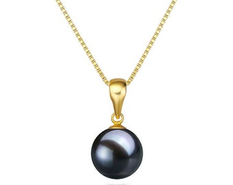 Pearl pendant etsy japanese aaaa black freshwater pearl pendant necklace 1618 sterling silver matching chain black pearl necklace pendant free shipping aloadofball Gallery