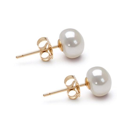 Pink AA 6-10mm Freshwater Cultured Pearl Earrings Stud Sterling Silver Settings Cultured Pearls Earring