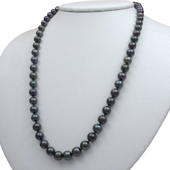 """7-9mm Black Akoya Pearl Necklace Shell Pearl Pendant 18/""""AA"""