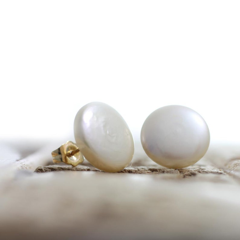 b84d47aa87544 Exquisite Button Pearl Earring Studs - White Freshwater Coin Pearl Earrings  - Free Shipping