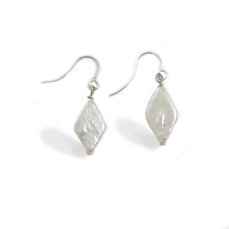 4d3d4894645ec Exquisite Diamond Shape Pearl Dangle Earrings Studs - White Freshwater  Pearl Drop Earrings Studs - Free Shipping