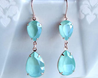 Swarovski Crystal Mint Green Teardrop Pear Rhinestone Earrings with Rose Gold Settings