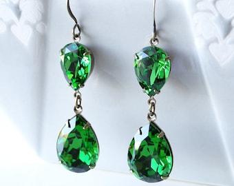 Swarovski Fern Green Rhinestone Earrings Bridal Bridesmaids Holiday Old Hollywood Glamour