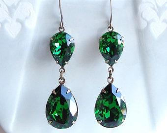 Swarovski Moss Green Rhinestone Earrings Bridal Bridesmaids Holiday Old Hollywood Glamour