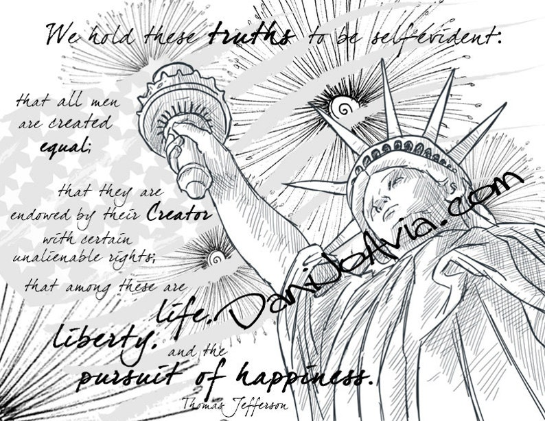Coloring Page The Declaration Of Independence Celebrate The Etsy