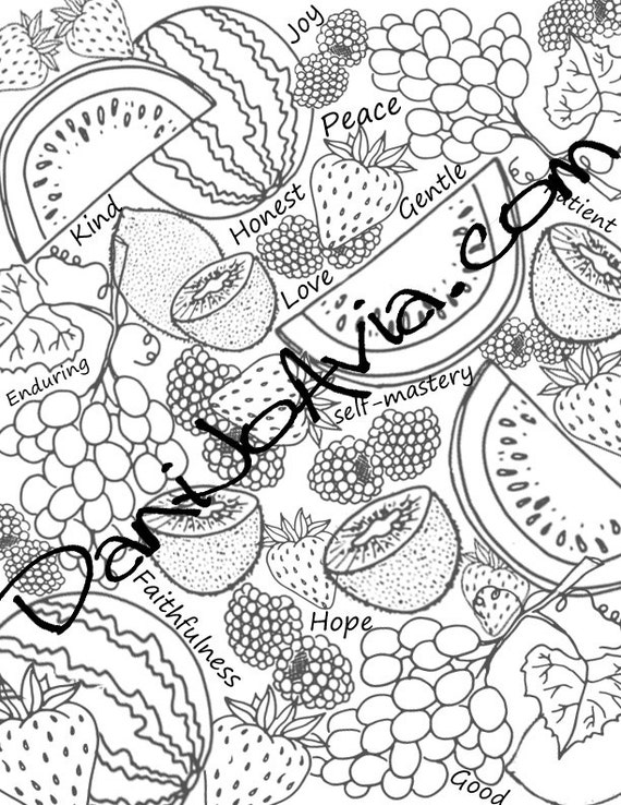 Coloring Page Fruits Of The Spirit Meditation For Summer Etsy