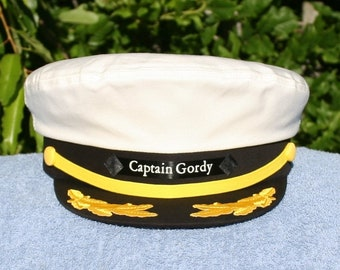 d7258573b44f8 Personalized Yacht CAPTAIN S HAT perfect for Sailing and any Nautical or  Sea Worthy occasion