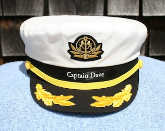 fb98702e9e7d2 Personalized Yacht CAPTAIN S HAT with Boat Name on left side of hat  ...perfect for Sailing or any Nautical occasion Style  210-LSP
