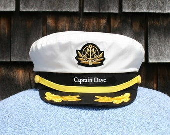 e9ef5dc4929 Personalized Yacht CAPTAIN S HAT perfect for Sailing and any Nautical or  Sea Worthy occasion Style  210