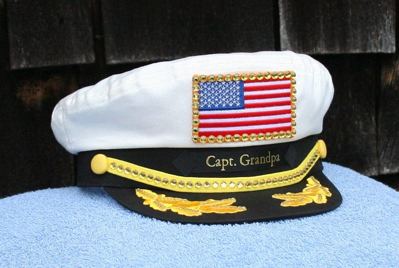 d2d32a76b56ff BLING Personalized Yacht CAPTAIN S Hat with American Flag