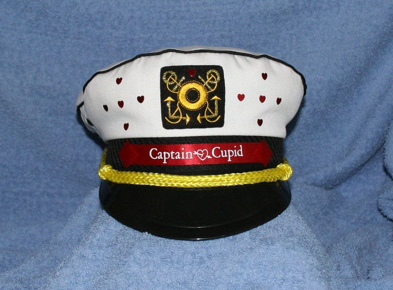 8b84a8bc2e6 Personalized Captain Hat with Hearts and Glitter for Bridal