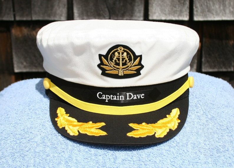 7ab6d20190de1 Personalized Yacht CAPTAIN S HAT with Boat Name on left