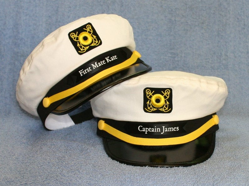 db6ca0ecb9f09 Set of two Personalized CAPTAIN S HATS including Boat Name