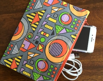 """Zipper Pouch made with custom designed fabric, """"Lines and Circles and Squares, oh my"""""""