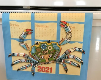 Price Reduced! from 15.00 to 10.00 -Tea Towel, 2021 Calendar, Custom Design, Crab Steampunk style