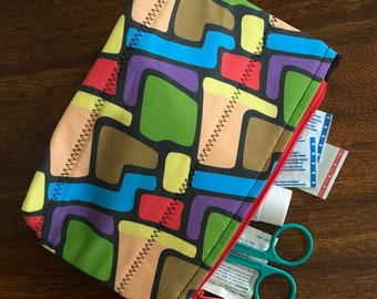 """Zipper Pouch made with custom designed fabric, """"Movin 'n Groovin"""""""