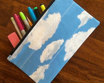 """Zipper Pencil Pouch made with custom designed fabric - """"Not A Cloud in the Sky"""""""