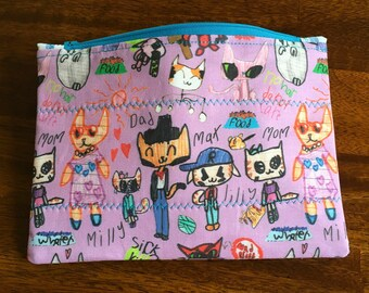 """Zipper Pouch made with custom designed fabric, """"Sophia's Cats"""""""