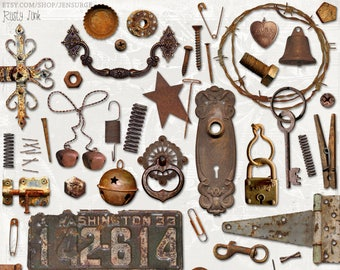 Rusty Junk digital scrapbooking graphics kit / clipart / altered art / mixed media collage / instant download / printable